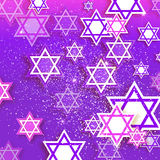Happy Hanukkah with origami Magen David stars. Magen David stars. Papercraft jewish holiday simbol on purple background. Vector design illustration Stock Photo