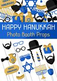Happy Hanukkah photo booth props. Accessories for festival and party vector illustration