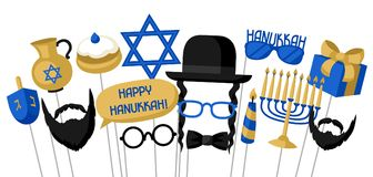 Happy Hanukkah photo booth props. Accessories for festival and party royalty free illustration