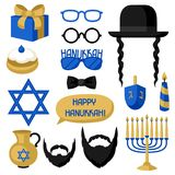 Happy Hanukkah photo booth stickers. Accessories for festival and party vector illustration