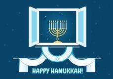 Happy Hanukkah Postcard Design Stock Photo