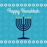 Happy Hanukkah poster or greeting card with menorah. Vector illustration