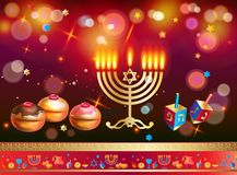 Happy Hanukkah Gold Menorah, Baked Donuts with Blueberry and Confetti Chocolate Glaze, wood dreidel stock illustration