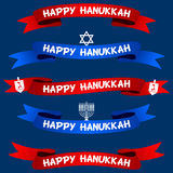 Happy Hanukkah Ribbons or Banners Set Royalty Free Stock Photo