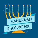 Hanukkah sale or discount design for an emblem, sticker or logo with menorah with burning candles. Vector illustration. Happy Hanukkah sale and discount design Royalty Free Stock Image