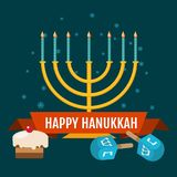 Hanukkah sale for an emblem, sticker or logo with menorah with burning candles. Vector illustration. Happy Hanukkah sale and discount design for the emblem Royalty Free Stock Images