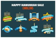 Happy Hanukkah Sale Emblem Set Royalty Free Stock Image