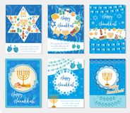 Happy Hanukkah set of greeting cards, flyer, poster. Hanukkah collection of templates for your invitation design. With menorah, sufganiyot, bunting, dreidel