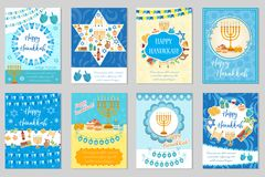 Happy Hanukkah set of greeting cards, flyer, poster. Hanukkah collection of templates for your invitation design. With Royalty Free Stock Image