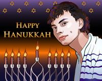 Happy Hanukkah Shining Illustration with Menorah, David Stars, Portrait of a Young Jew stock illustration