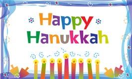 Happy Hanukkah Sign. Colorful Hanukkah Banner with candles and dreidels. Eps10
