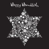 Happy Hanukkah Star of David. With star made up of menorahs, dreidels and stars