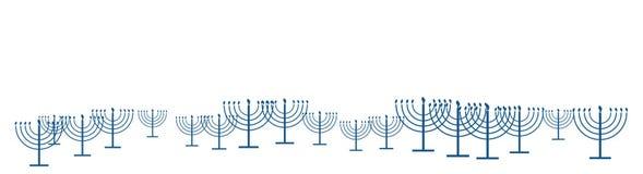 Happy Hanukkah template banner as repeat pattern of simple outline Hanukkah menorah with burning candles in blue banner wide. Happy Hanukkah template banner as vector illustration