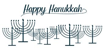 Happy Hanukkah text and repeat pattern of simple outline Hanukkah menorah with burning candles in blue color with empty background. For holiday card. Vector royalty free illustration