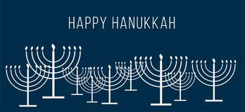 Happy Hanukkah text and repeat pattern of simple outline Hanukkah menorah with burning candles in white color blue. Happy Hanukkah text and repeat pattern of stock illustration