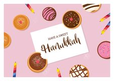 Happy Hanukkah- traditional jewish holiday . traditional donat and candles vector illustration