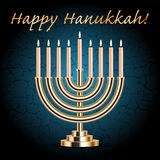 Happy Hanukkah! turquoise wish card Stock Images