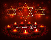 Happy Hanukkah. Vector Happy Hanukkah greeting card with candles on luminous background. Hanukkah nine candles with burning flames and text. Jewish Light