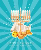 Happy Hanukkah vector greeting card in modern style vector illustration