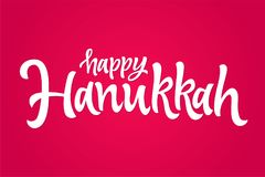 Happy Hanukkah - vector hand drawn brush lettering Stock Photos