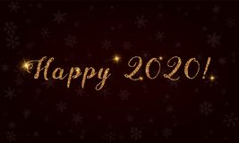 Happy 2020!. Golden glitter hand lettering greeting card. Luxurious design element, vector illustration Royalty Free Stock Images