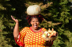 Happy harvest time for South African woman