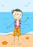 Happy Hawaii boy on beach background Royalty Free Stock Photo