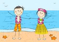 Happy Hawaii couple on beach background Stock Photo