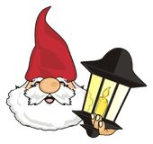 Face of gnome with lamp. Happy head of gnome with black lamp stock illustration