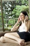 Happy In Headphones royalty free stock photography