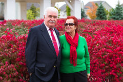 Happy and Health Senior Couple Enjoying Autumn Royalty Free Stock Images