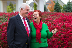 Happy and Health Senior Couple Enjoying Autumn Stock Photos