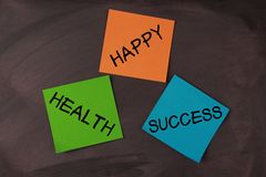 Happy, Health and Success Notes Stock Photos