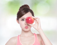 Happy health woman show apple Royalty Free Stock Images