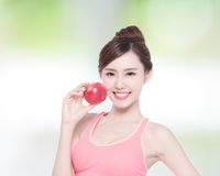 Happy health woman show apple Stock Photo