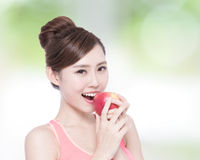 Happy health woman show apple Stock Images
