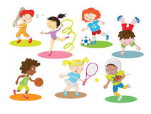 Happy healthy and active children doing indoor and outdoor sports Royalty Free Stock Photos