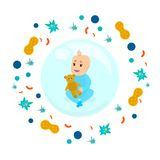 Happy healthy baby sitting inside safety bubble stock illustration