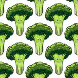 Happy healthy broccoli seamless pattern Royalty Free Stock Photography