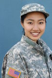 Happy healthy ethnic army female soldier Royalty Free Stock Images
