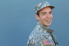 Happy healthy ethnic army male soldier.  Stock Photography