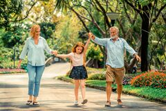 Free Happy Healthy Family Walk Together In The Park. Royalty Free Stock Images - 215966549