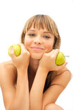 Happy healthy girl with green apple. Isolated on white Royalty Free Stock Image