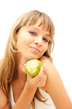 Happy healthy girl with green apple. Isolated on white Stock Images