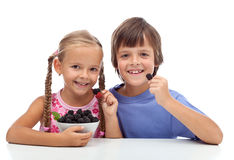 Happy healthy kids eating fresh blackberries Stock Images