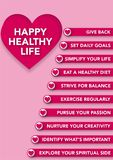 Happy Healthy Life Cart. Give Back, Set daily Goals, Simplify your life, eat a healthy diet, Strive for balance, exercise regularly, pursue your passion, Nurture Stock Photography