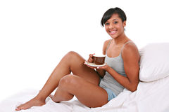 Happy Healthy Natural Looking Young Female on Bed Royalty Free Stock Images