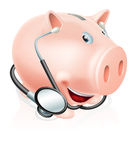 Happy healthy piggy bank. An illustration of a happy piggy bank cartoon character wearing a stethoscope. Could be related to healthy finances, savings or actual Royalty Free Stock Photo