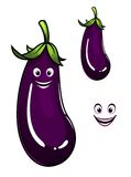 Happy healthy purple eggplant or aubergine Royalty Free Stock Images
