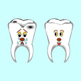 Happy healthy and sad sick teeth. Funny cartoon il Royalty Free Stock Photos